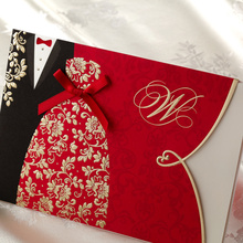Red Wedding Invitations With Cute Ribbon