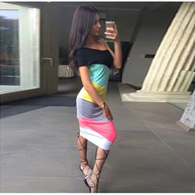 2016 Women Striped dress Casual Style Straight Short Sleeve Straight neck Hot Sale New Arrival Fashion Mid-Calf Dress