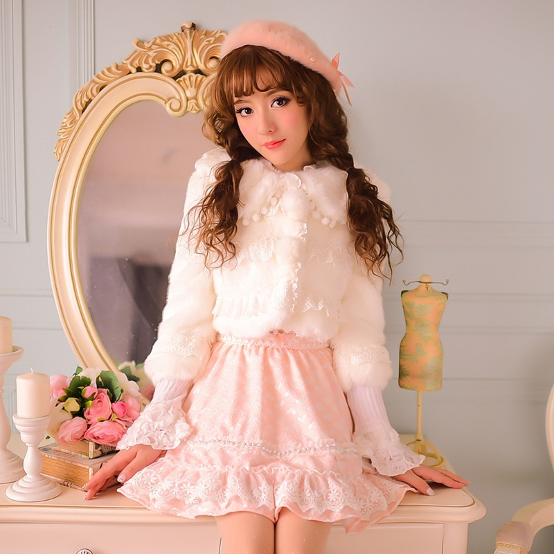 Princess sweet lolita coat Candy rain Cute lapel warm white jacket pom bow lace patchwork flocking Faux Fur Short CR30 - Loliloli shop for Lolita store