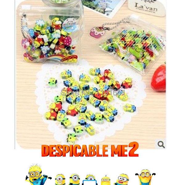 Pencil eraser sets eraser rubber school Supplies and pvc bag Despicable Me 2 Minions cute cartoon eraser set for kid's 1bag/lot(China (Mainland))