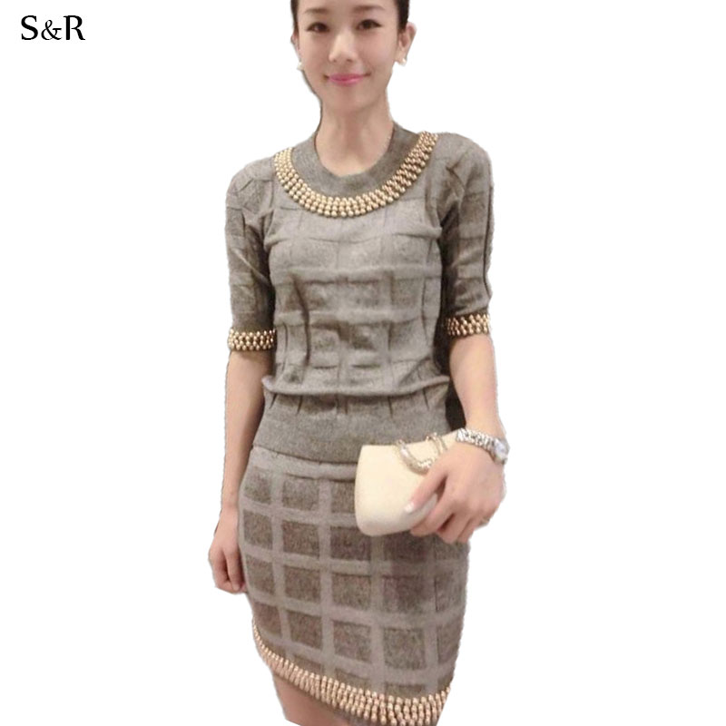 Women Sweater Skirt Set Fashion Clothing Suit Knitted Clothes Beading Decor Lady Costume Strechy Bodycon Skirts Plaid Grey Black