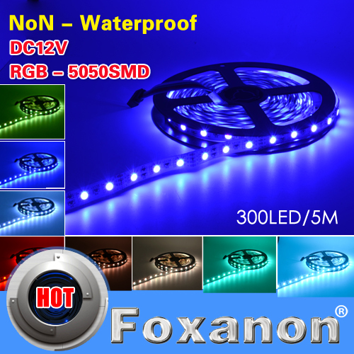 2015 NEW 5050 LED Strip 5M/roll 300Leds 60LED/M Epistar SMD Lamps DC12V Non-Waterproof RGB Flexible light Lighting 5M/Roll(China (Mainland))