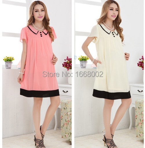 2015 fashion new maternity dress short sleeve solid chiffon summer dresses for pregnant women pregnancy clothes free shipping<br><br>Aliexpress