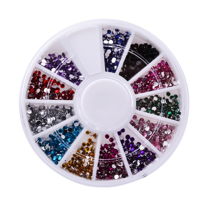 Wholesale DIY Glitter Colorful 3d Nail Art Decorations 3mm Round Diamond Rhinestones For Nail Art Decorations Nail Tools(China (Mainland))