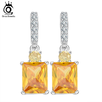 Big Emerald Cut Yellow Zircon Earring on Platinum Plated Beautiful Dangle Earring for Women Anniversary Gift OE126