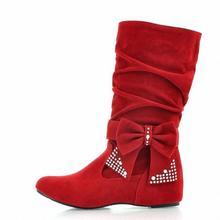 Nueva moda estilo de la gota! venta al por mayor de la marca mujeres nieve botas pisos arco botas de invierno para la primavera otoño zapatos(China (Mainland))