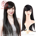 28 70cm Black Long wig Straight Brazilian Human real Hair Wigs with Side Swept Bangs None