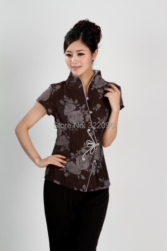 Free shipping Summer 2015 Coffee chinese style blouse flower print blouse china traditional style Jacket women Plus size 2984-3(China (Mainland))