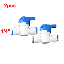 """2 pcs Water Filter Parts 1/4""""OD Ball Valve for Tube Quick Connect Switch Water Purifier RO Reverse Osmosis System(China (Mainland))"""