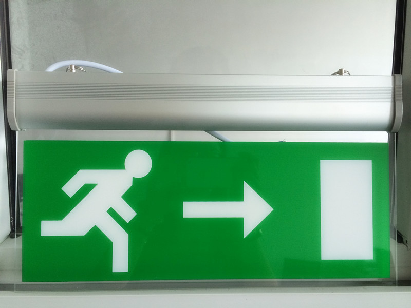 Free Shipping LED Light emergency exit sign board Acrylic material with 3 hours back up time green light(China (Mainland))