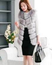 2015 New Arrival  Winter Warm Fashion Women Faux Fur Vest Faux Fur Coat Fox Fur Long Vest Colete Feminino plus size 3XL 4XL(China (Mainland))