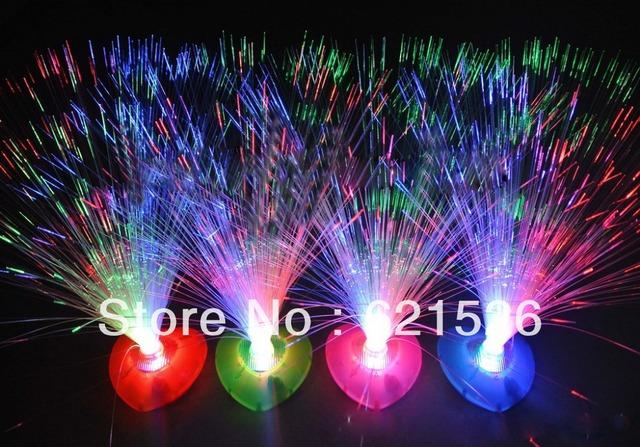 2013 Holiday Sale Party Decoration Heart-shaped Pedestal Colorful Christmas LED Light Fiber Optic Flower 6pcs/lot