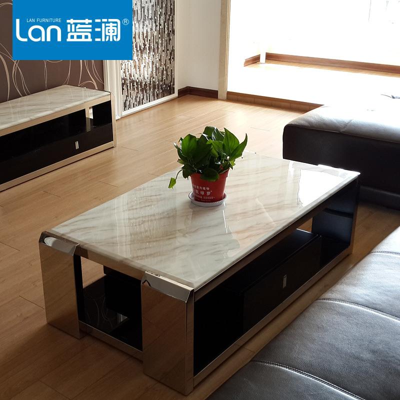 Blue Lan Minimalist Modern Glass Coffee Table Small