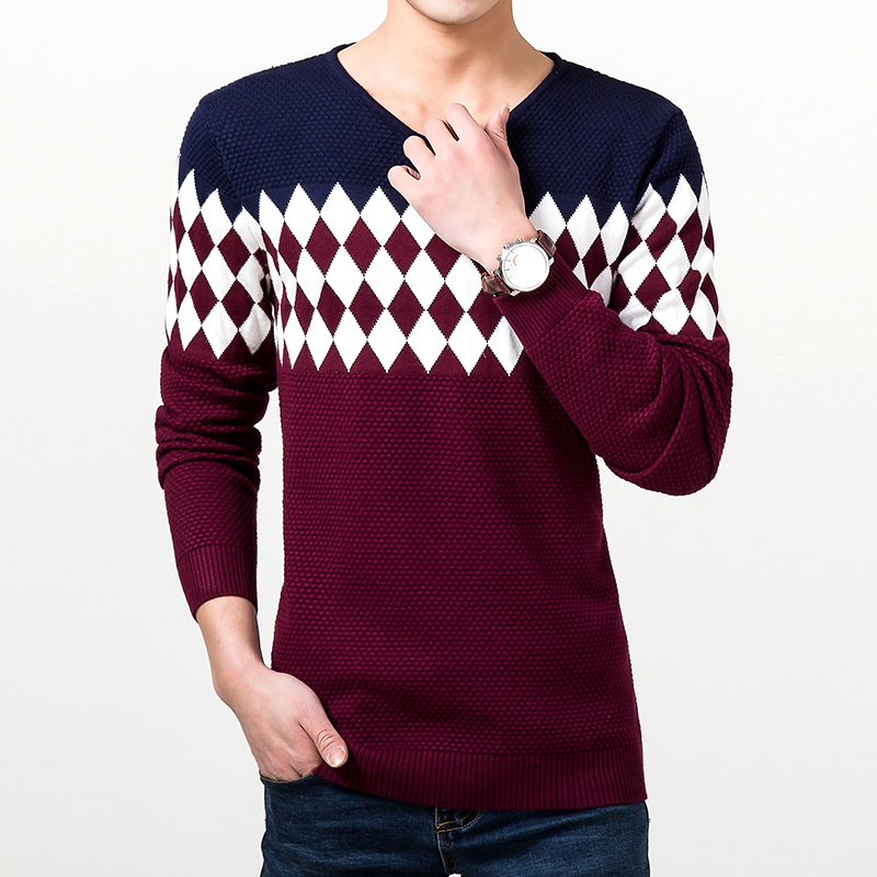 Hot 2017 New Arrival Mens V-Neck Sweaters High Quality Knitwear For Argyle Sweater Men Silk Cotton Pullover Sweater Sueter Blusa(China (Mainland))