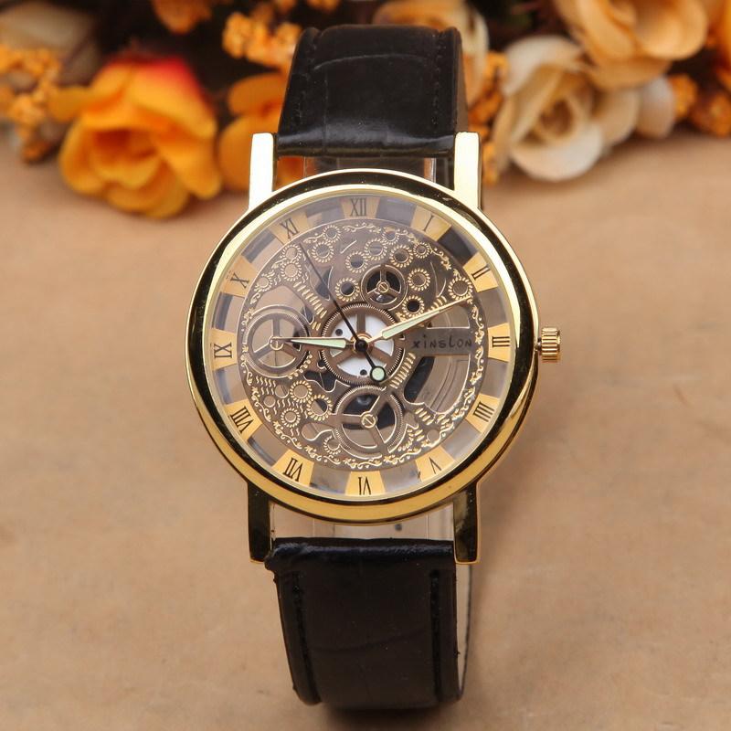 Гаджет  Luxury Brand Men Women Transparent Silver Gold Skeleton Watches Vintage Roman Numerals Leahter Wristwatch Relogio Masculino Gift None Часы