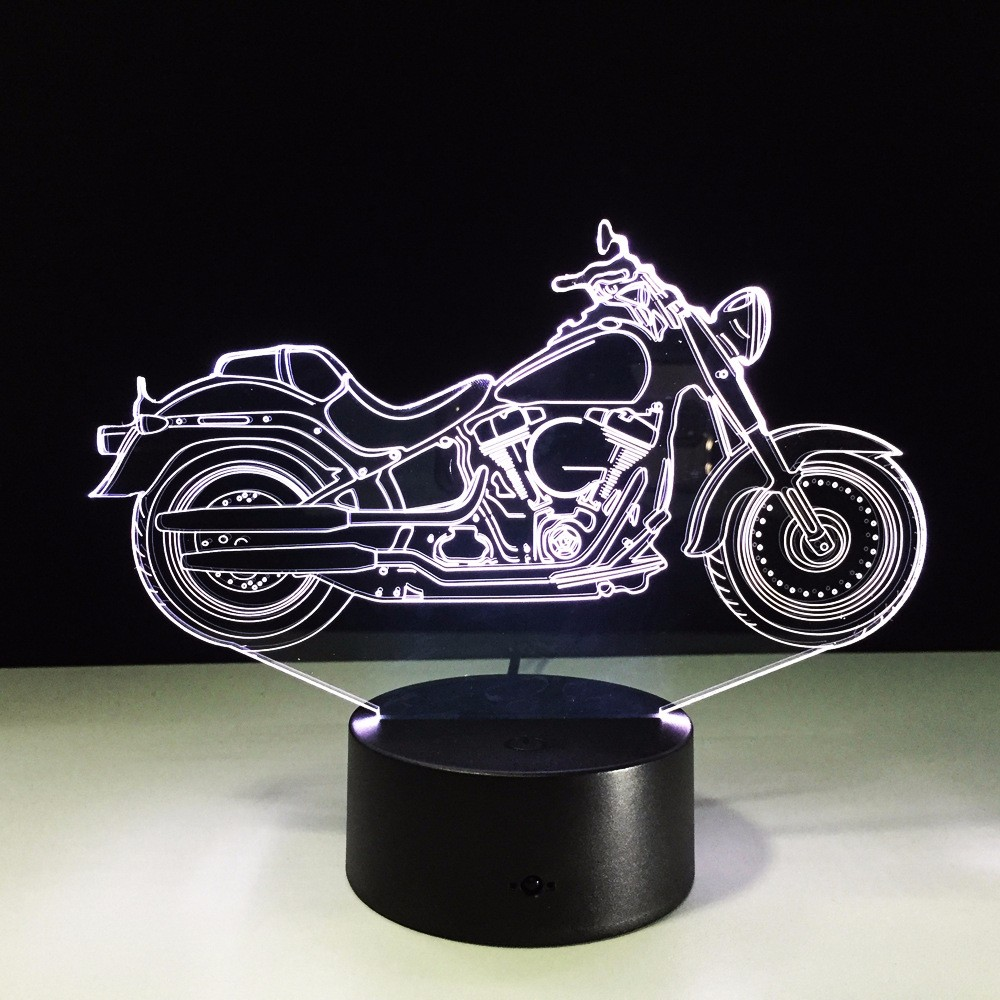 Cool ! 2016 NEW Motorcycle Action &Toy Figure Gift 3D LED Table Lamp Motorcycle Template 7 Color Changing Figures Boys Best Gift