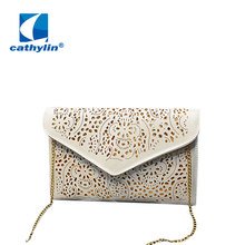 Hot New 2016 Hollow out chains envelope bag neon color cutout bag pu candy color day clutch women's messenger bags