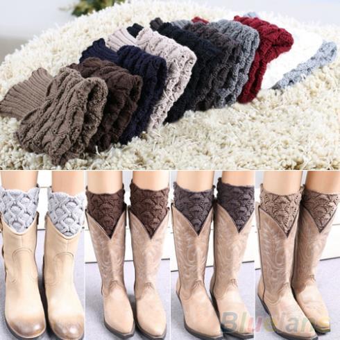 Гетры женщин зима крючком вязать ботворезы манжеты коротких лайнер загрузки носки ...