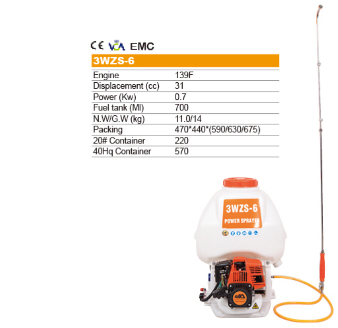 knapsack gasoline power sprayer 3WZS-6 31cc for garden and agricultural use(China (Mainland))