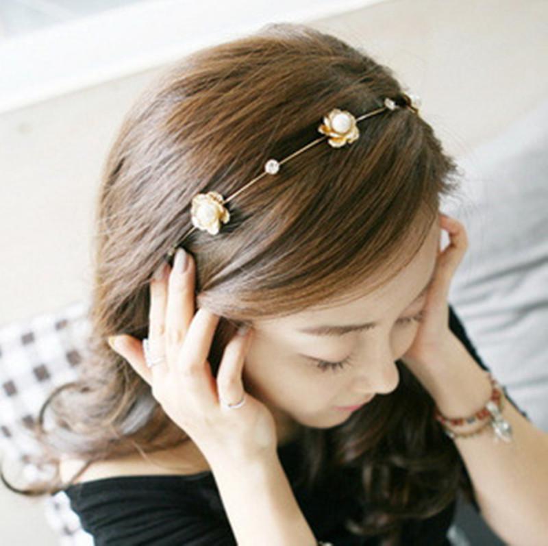 Jewdy 2016 Fashion Crystal Pearl Flower Party Wedding Hair Accessories Jewelry Bridal Headband women Headwear Silver Plated(China (Mainland))