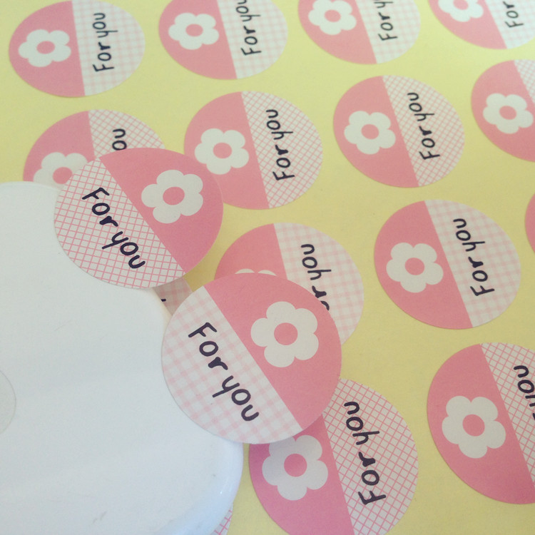 "600 pcs/lot, Pink circle flower series ""for you"" Seal label sticker Paper sticker(China (Mainland))"