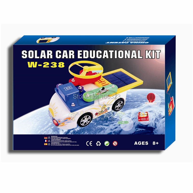 W-238, New Creative Solar Car Educational Kit, Child Toy Vehicles, Kid Assemble Electric Power Blocks Toys, Hot Gift for Age 8+(China (Mainland))