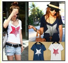 Free shipping! High fashion 2012 summer pentacle v-neck t-shirt women,color blue,t shirt,wholesale,10pcs/lot(China (Mainland))