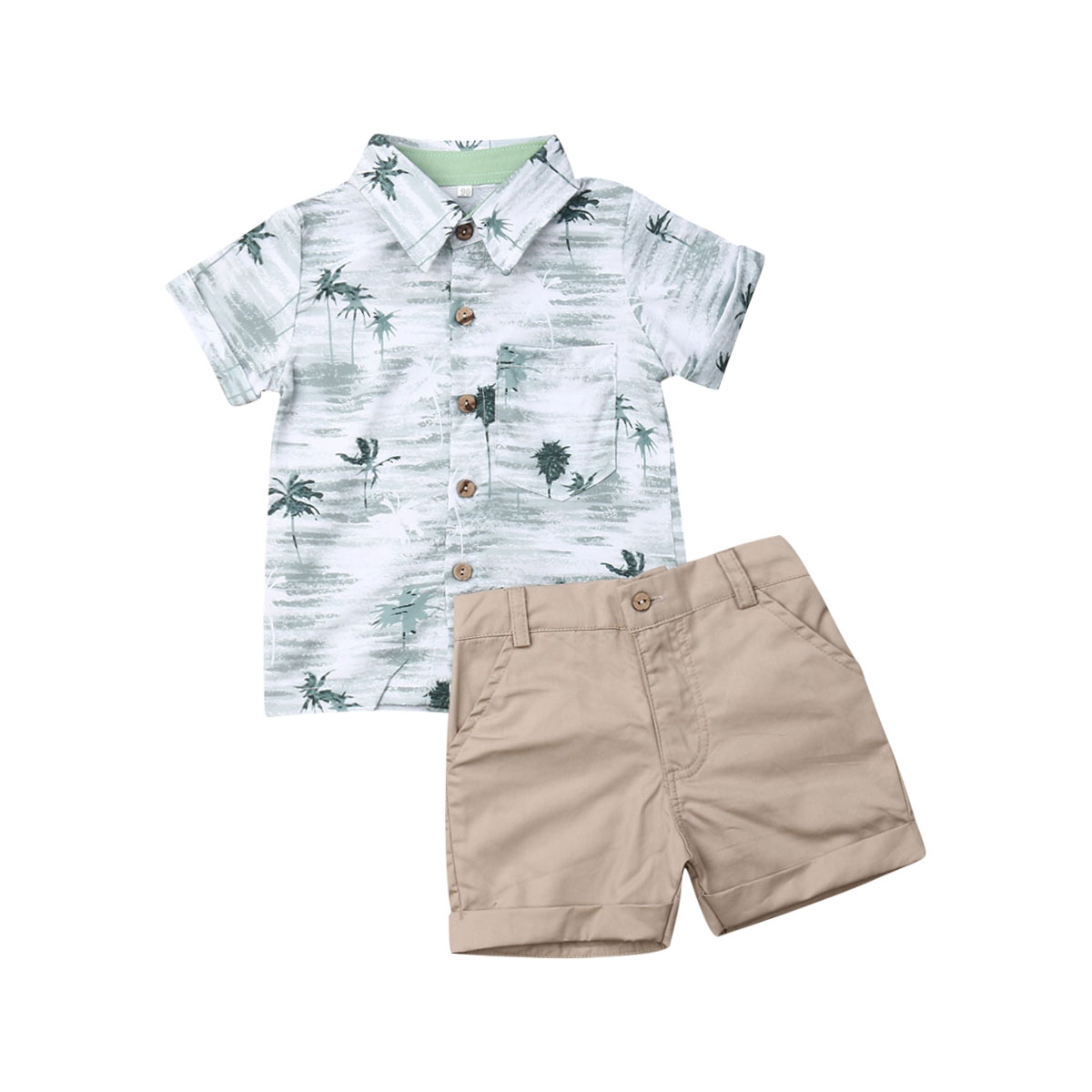 Baby Boy Summer Shorts Boy Cotton Summer T-Shirt and Elastic Pants Solid Clothes 2Pcs Outfits Toddler Set