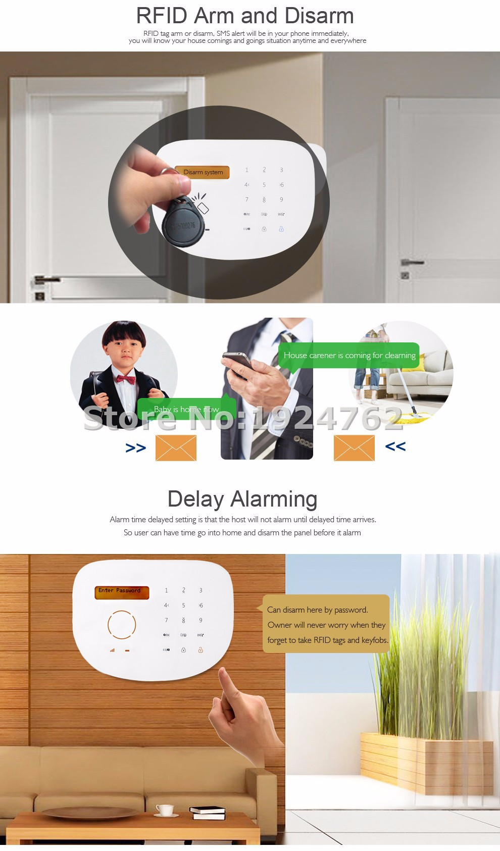 2016 Touch GSM Alarm Package Kit Smartphone APP Remote Control with Doorbell Password Keypad and Pet Immune Motion Detector