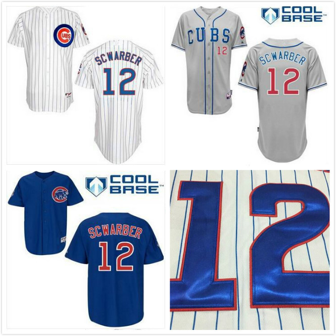 2015 Kyle Schwarber Jersey Cubs 12 Cheap Chicago Jersey Blue Gray White Cool Base Baseball Jersey Free Shipping(China (Mainland))