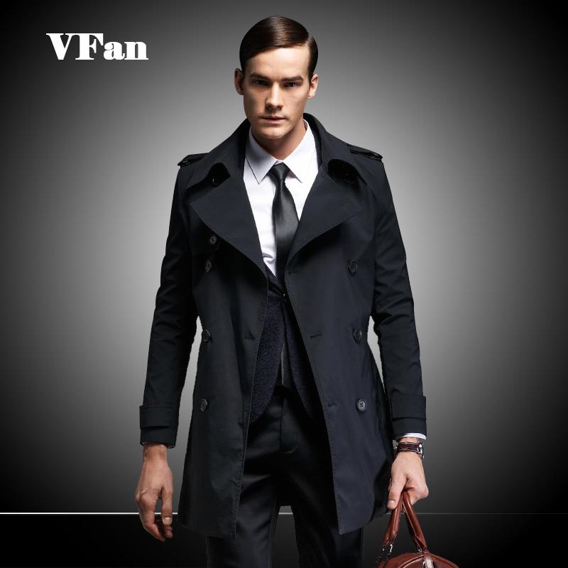 2015 Autumn Men's Trench Coat Fashion Turn-down Collar Double Breasted Trench Coat Men Outerwear Long  Windbreaker Z1494-Euro