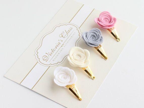 48pcs Felt Flower Hair Clip Set, Rose Felt Hairclips, Flowers HairClip, Bloom Felt Snap Clips, Girls hairclips Wholesale(China (Mainland))