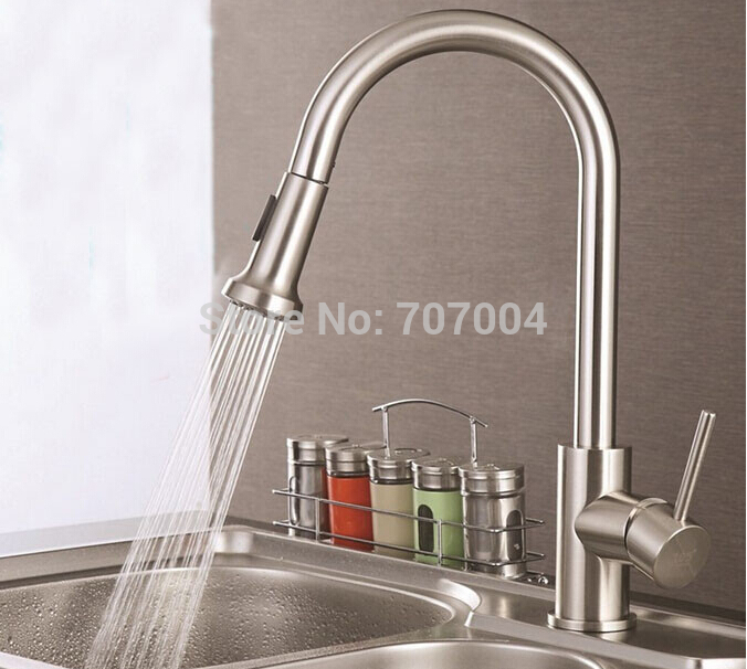 Multi-functions Pull Out Dual Spayer Kitchen Sink Faucet Single Handle Brushed Nickel Kitchen Hot and Cold Mixer Taps<br>