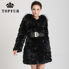 2015 New Low!Fur coat women'slong  rabbit fur coat with large fur hat Free shipping  TF0268(China (Mainland))