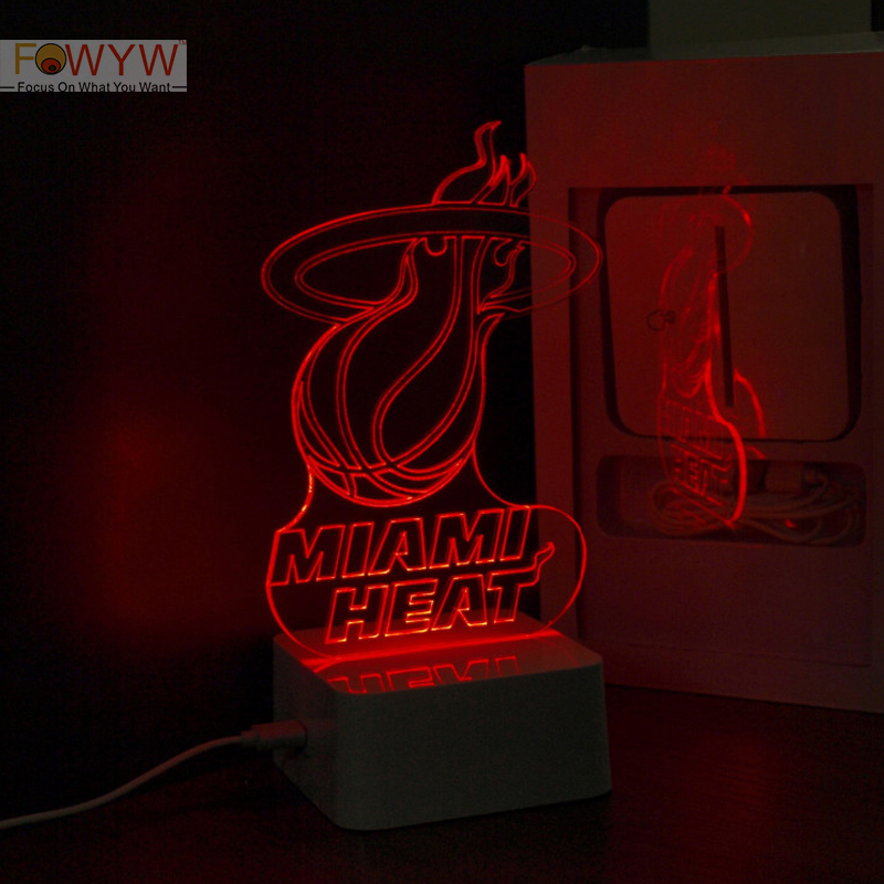 Free Shipping MIAMI HEAT Official Licensed Acrylic Sign Collectible 3D Table Lamp NBA Basketball Player LED Night Light Gift<br><br>Aliexpress