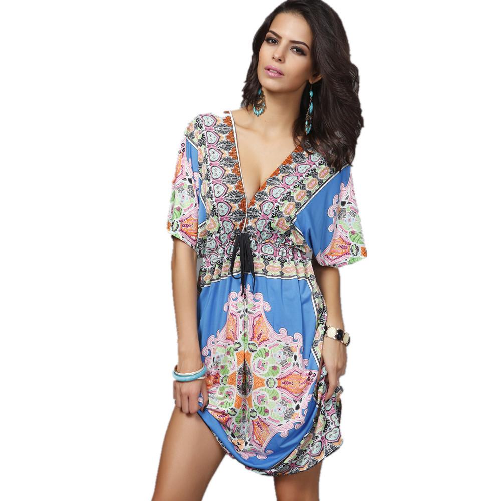 Bohemian Dress Sexy Deep V Fashion Design Print Big Size