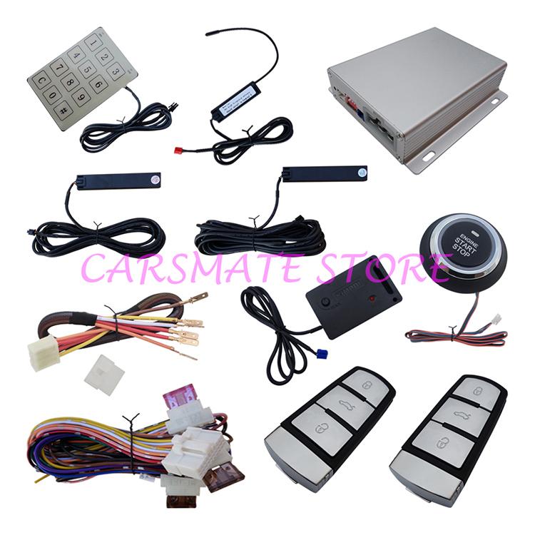 Smartkey PKE Alarm With Auto Start Push Button Start PKE Car Alarm System Automatically Owner Identify With Shock Sensor(China (Mainland))