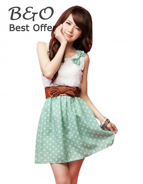 2014 Top Quality Women's Summer Vest Dress Sweet Lovely Lace Chiffon Polka Dot Casual Sundress Mini Dress 18(China (Mainland))