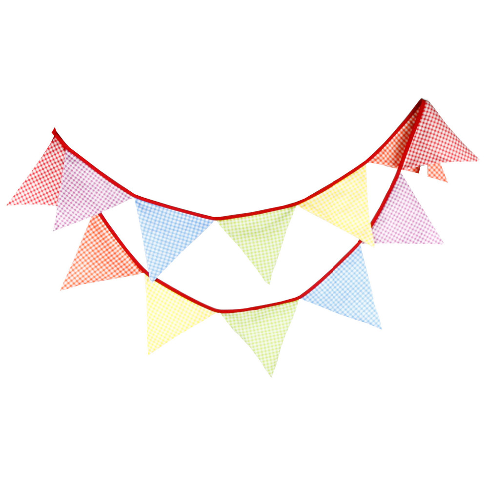 New 12 Flags - 3.2M Cotton Fabric Banners macaron colour Bunting Decor children camping Garland birthday photo bunting(China (Mainland))
