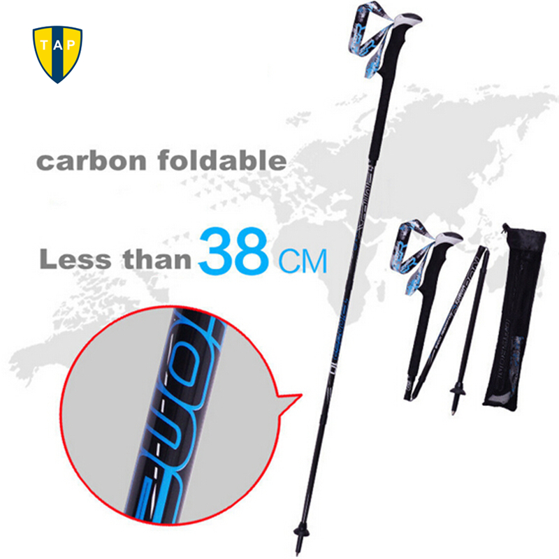 Ultra-light Adjustable Folding Camping Hiking Walking Stick Alpenstock Bastones Trekking Carbon Fiber Climbing Ski Trekking Pole(China (Mainland))