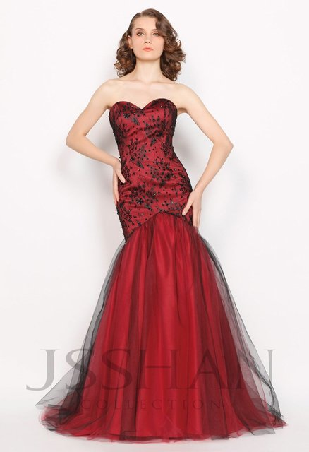 Celebrity Strapless Beaded Sequined Lace Mermaid Evening Dress with Inlaid Petticoat Long Prom Dress 2014
