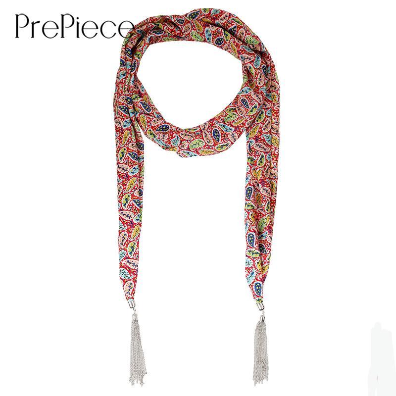 PrePiece Suave Gasa de Impresión Collar Bufanda Principal Silver Plated La Borla Colgante Bufandas Nueva Joyería para Las Mujeres Sciarpe Quimio PSN0115(China (Mainland))