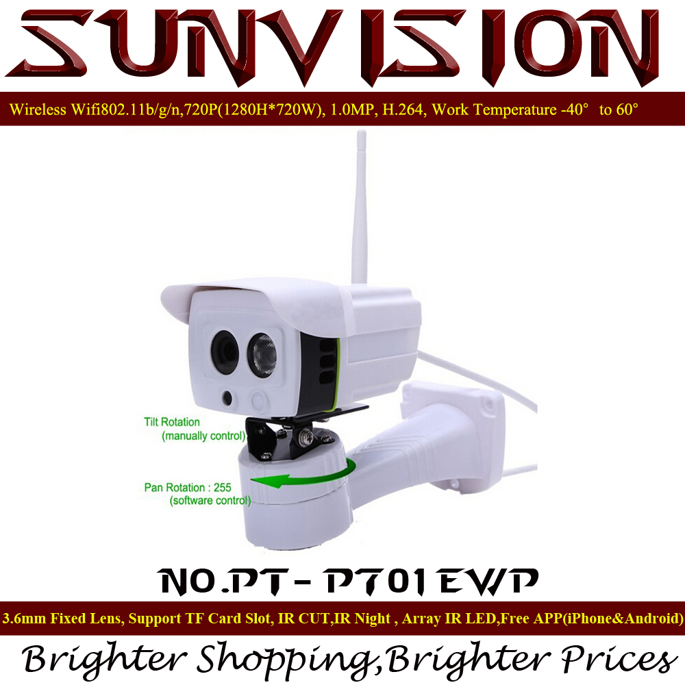 SunVision PT-P701EWP Wireless Outdoor IP Camera Pan Rotation by Software ONVIF 720P HD with Micro SD Slot Array IR Night Vision<br><br>Aliexpress