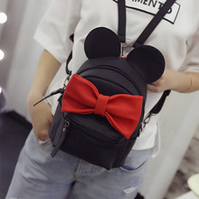 2016 New mini backpack female bag quality pu leather women backpacks Korean version of Mickey ears sweet bow College Wind(China (Mainland))