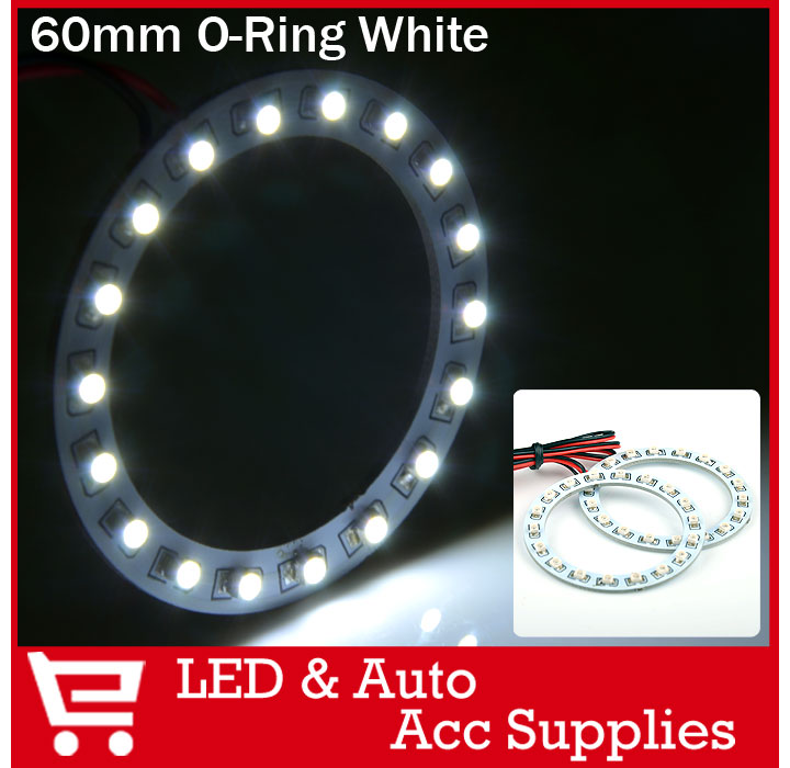 2 x 60mm Angel Eyes 3528 1210 18 SMD LED Car Head Light Halo Rings White/Green/Red/Blue/Yellow Super Bright(China (Mainland))