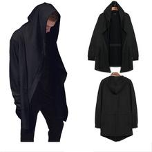 2016 fashion High Street Men's hip hop jacket grey/Black Spring and Autumn long cardigan  wizard Hoodies cloak cape coat,M-3XL(China (Mainland))
