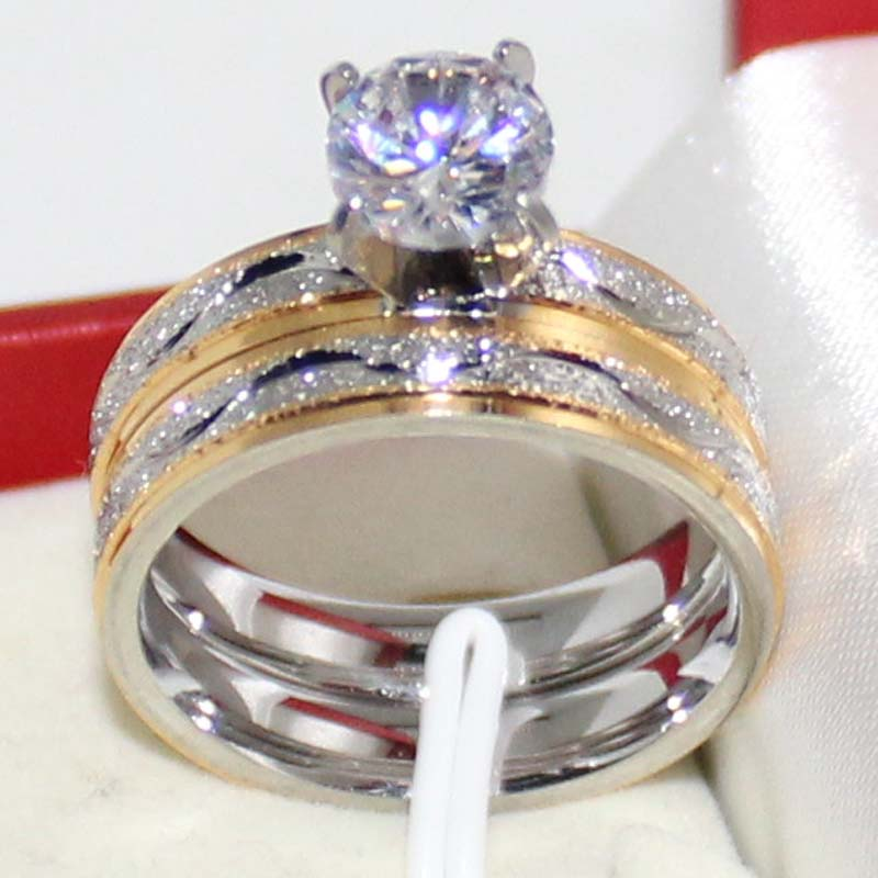 Male Female Simulated Diamond Wedding Ring Sets Frosting Stainless Steel Band Couple Rings For Men And Women Free Shipping(China (Mainland))
