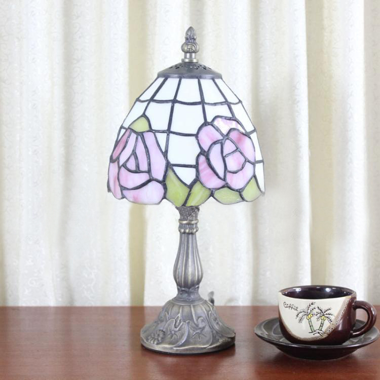 buy three lighted tiffany downward chandelier pink rose at