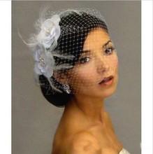 Hot Sale Bird Cage Veil Wedding Veil Birdcage Veil Netting Face Short Feather Flower White Fascinator Bride Hats with Veil(China (Mainland))