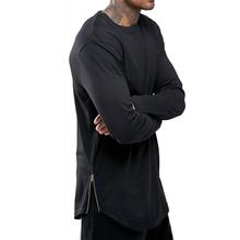 Buy Moomphya fashion street wear t shirt men extend swag side zip t shirt Super Longline Long Sleeve T-Shirt Curve Hem Zip for $10.87 in AliExpress store